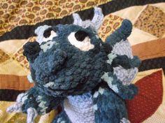 Crochet soft baby dragon amigurumi blue dragon ready by SalemsShop