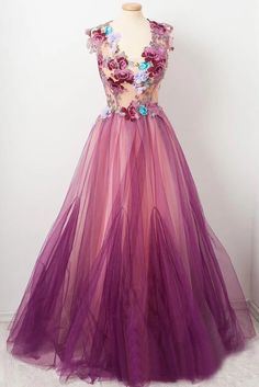 Tulle Flower A Line Prom Dresses Scoop neck Appliqued Party Dress, STG, This dress could be custom made, there are no extra cost to do custom size and color. Floral Prom Dresses, Prom Dresses Two Piece, A Line Prom Dresses, Tulle Prom Dress, Prom Party Dresses, Evening Dresses, Formal Dresses, Rainbow Prom Dress, Dance Dresses