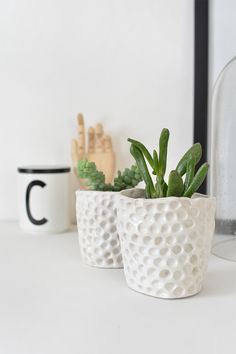 Love this idea at ohsogirly -- DIY Mini planter. Materials: air dry clay small plant pots rolling pin craft knife spray varnishas the base for…