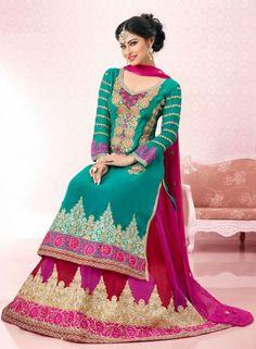 Designer Abaya Style Anarkali Dress In Tourquoise .  Shop at - http://www.gravity-fashion.com/designer-abaya-style-anarkali-dress-in-tourquoise.html
