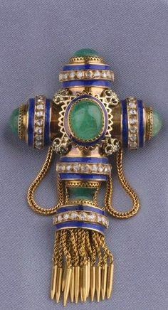 Antique 14kt Gold Gem-set Brooch