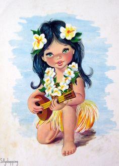 Vintage hula girl tattoo