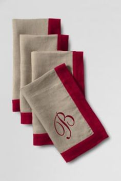Linen Napkins (Set of from Lands' End Diy Embroidery Monogram, Applique Monogram, Monogram Letters, Monogrammed Napkins, Linen Napkins, Napkins Set, Burlap Table Settings, Sewing Crafts, Sewing Projects