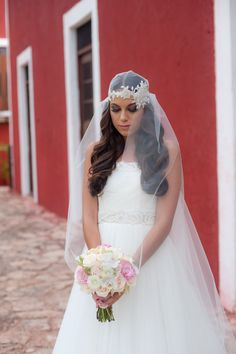 #JulietCap #Veil | Life Wonders Photography | See more on #SMP: http://www.stylemepretty.com/destination-weddings/2013/12/04/mexican-hacienda-wedding-inspiration-from-life-wonders-photography/