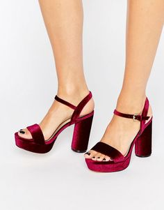 $46 Image 1 of New Look Velvet Heeled Platform Sandal