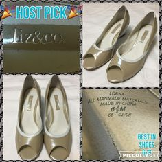 HP 6/9 Liz & Co Open Toe Wedge shoes A few light scuffs, only worn once. Very comfortable. A3                                                            Ask about a bundle discount on all items that are not ⏰Flash Sale items! I ship everyday. Thanks! Liz & Co Shoes Wedges