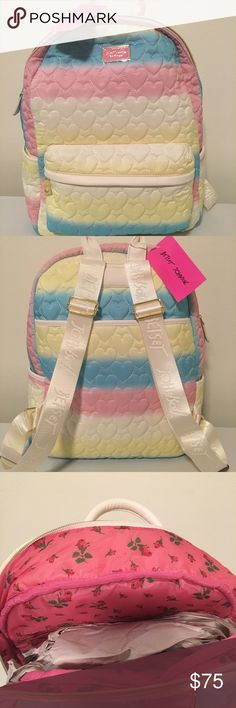 NWT Betsy Johnson backpack NWT Betsy Johnson backpack. It is pastel yellow, blue, and pink striped covered front and back with quilted hearts. It has gold trim, a white leather bottom, and white adjustable straps. The inside is pink with roses. It is 100% polyester. It is stored and will also ship in the original plastic it came in. Betsey Johnson Bags Backpacks