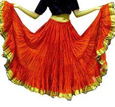 22,9m Gypsy Bellydance Jupe, Tribal Fusion Danse Jupe, style hippie Festival, Rouge/vert