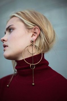 Zimmermann - Brass Suspended Link Earrings  & Burgundy Karmic Baby Rib| BONA DRAG