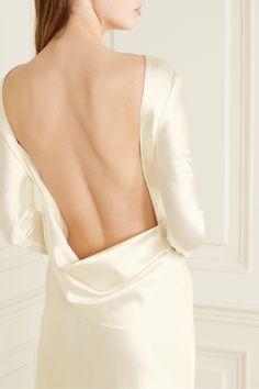 Danielle Frankel - Simone open-back draped wool and silk-blend satin gown Elizabeth Fillmore, Grace Loves Lace, Satin Gown, Silk Dress, Stella Mccartney, Drape Gowns, Suzanne Kalan, Models, Clutch