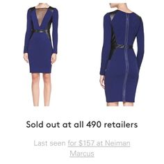"""Navy Bodycon Dress with Leather Panel and Zip Back Brand new! A little too """"sexy"""" for where I wanted to wear it to so my loss is your gain! By La Pina by David Helwani. Sold out all over! I paid $149.99 + tax for this. Super flattering! If I don't end up selling I will just keep for a future event. 37"""" length. Can't remember the size on the dress but I am a size 2 and it fit me like a glove. Super stretchy. Has small defect by the chest, not noticeable David Helwani Dresses Midi"""