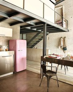 Love the pink refrigerator.  Would love to have this in my  kitchenette when I finish my basement.