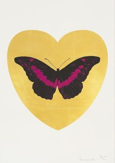 I Love You - gold leaf, black, fuchsia    Damien Hirst, I Love You - gold leaf, black, fuchsia  (2015)