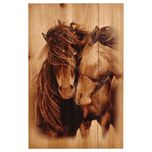 Two Horses Wood Panel - A Black Forest Decor Exclusive - Printed in sepia tones on distressed planked wood, the Two Horses Wood Panel wall hanging features a nuzzling horse couple. Horse Couple, Two Horses, Pallet Painting, Painting On Wood, Wood Paintings, Acrylic Paintings, Metal Art, Wood Art, Horse Themed Bedrooms