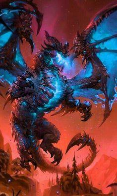 Undead Deathwing - Daily World of Warcraft Art Board ^^ // Blizzard // wow // Scourge // Undeath // Hearthstone // Geek Dark Fantasy Art, Fantasy Artwork, Mythical Creatures Art, Mythological Creatures, Magical Creatures, Monster Art, Fantasy Monster, Art Warcraft, World Of Warcraft