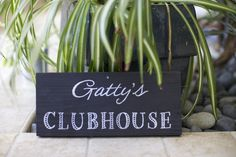 Custom reclaimed wood painted sign. Clubhouse. Address. Front Door. Backyard. Garden. Bonfire. Family established date. Doghouse. Treehouse. Playhouse