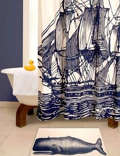 Nautical Luxuries Coastal Decor & Gifts - Vintage Nautical Shower Curtain And Bath Mat