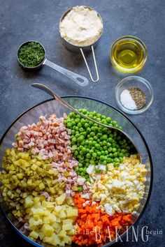 Olivier Salad - Russian Potato Salad - Let the Baking Begin! Russian Salad Recipe, Russian Potato Salad, Chicken Potato Salad, Chicken Potatoes, Russian Dishes, Russian Recipes, Russian Foods, Ukrainian Recipes, Salads Up