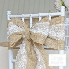 Vintage Wedding Decoration Event Party Supplies New Year Lace Birthday Baptism Accessories Hessian Retro Linen Decor Chair Cover