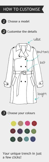 Customise Your Trench Coat, by MOOD by me. Jealous Of You, Celebrity Look, Retail Therapy, Cool Websites, Couture, Style Guides, Beautiful Outfits, Coat, Bespoke Wardrobes