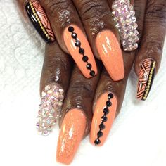 peach black and silver bling