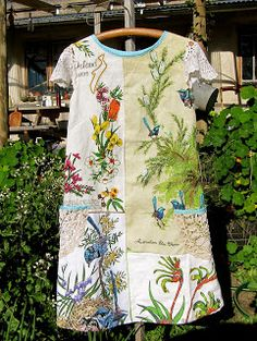pearl & elspeth: Zara's Blue Wren Shift made with upcycled tea towels
