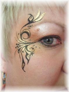 Face Painting - Eye Design - delicate and ornate linework Eye Face Painting, Adult Face Painting, Face Paint Makeup, Face Painting Designs, Eye Makeup, Cheek Art, Make Up Art, Maquillage Halloween, Fantasy Makeup