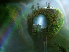 Metaphysical journey across strange worlds. (surreal art.)