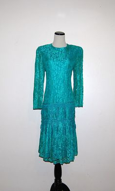 Vintage Dress Peacock Blue Lace by CheekyVintageCloset on Etsy, $32.00