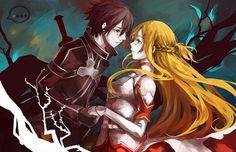 Kirito and Asuna SAO Online Anime, Online Art, Awesome Anime, Anime Love, Awesome Art, Amazing, Sao Kirito And Asuna, Kirito Kirigaya, Avatar