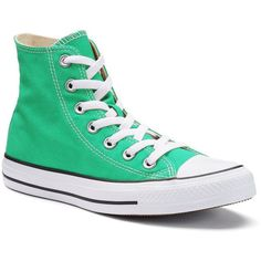 Adult Converse All Star Chuck Taylor High-Top Sneakers ($60) ❤ liked on Polyvore featuring shoes, sneakers, med green, lace up shoes, green sneakers, converse shoes, unisex shoes and green shoes