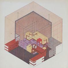Isometrie des Direktorenzimmers im Bauhaus Weimar, Entwurf: Walter Gropius, 1923 / Zeichnung: Herbert Bayer. Stiftung Bauhaus Dessau / © VG Bild-Kunst, Bonn 2016.