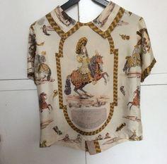 """Vintage 60's Hermès women's silk blouse """"Tournois et Carrousels"""" by Ledoux Louis XIV Roi Soleil"""