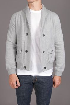 Barque Terry Shawl Collar Double Breasted Cardigan
