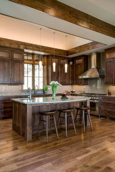 Modern Kitchen Interior Remodeling 31 Most Favorite Ideas of Reclaimed Barn Wood Kitchen Islands - There are hundreds of choices of reclaimed barnwood for kitchen island, and we have put together the top 31 ideas just for you! Check 'em out! Wood Kitchen Island, Rustic Kitchen Design, Farmhouse Kitchen Cabinets, Home Decor Kitchen, Kitchen Interior, Vintage Kitchen, Home Kitchens, Kitchen Ideas, Kitchen Islands