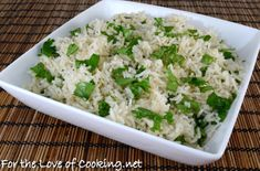 Coconut Cilantro Rice - do with 'forbidden rice' and add fresh white peach slices or a side of peachy salsa for an extra flair.