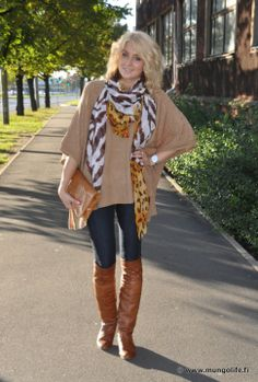 Fall/Winter Outfit: Tan/Light Brown/Latte Brown Oversized Sweater + Tiger-Mix Scarf + Dark Wash Skinnies + OTK Camel/Cognac Boots + Camel/Cognac Clutch