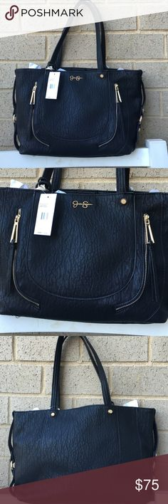 Jessica Simpson black tote handbag Elevate your wardrobe with the coveted Kendall. Crafted with stitch details and a signature logo charm for a designer touch, this tote makes the ultimate statement. Step out in style with this sweet accessory. 17-in. W x 10.5-in. H x 5-in. D Magnetic snap closure Interior: 2 pockets Gold-tone hardware; self-color stitch trim PVC Clean with a soft cloth. Jessica Simpson Bags Shoulder Bags