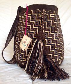 Wayuu tribu mochila sacs SIIJUNA (fait main): marron et noir
