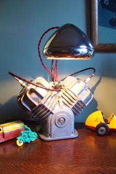 desk lamp made from old two cylinder engine