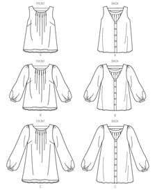 Vogue 8977: pleats at front neckline, V-back (with strap) and buttons.