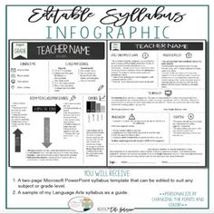 Infographic Syllabus {EDITABLE in PP} As a veteran teacher, one of my most requested forms is my class syllabus. This product provides you with my ELA class syllabus, but since it is an editable PowerPoint file you can tailor it to suit any grade level or