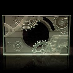 Steampunk Etched Art Glass Paperweight - Tabletop Sandblasted Carved Gear Mechanism
