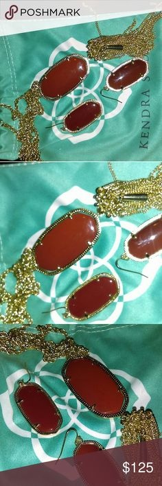 Kendra Scott Elle earrings and rayne necklace Excellent condition Dust little bag included Firm Kendra Scott Jewelry