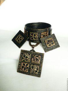 Купить Комплект из джута Поталь - комплект, медный, золотой, медь, золото, браслет, кулон, серьги
