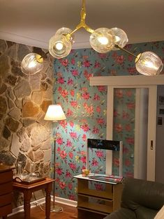 Before & After Pics - This floral design was used to wallpaper all 4 walls in this room and wow that a difference it made! Look at this total transformation! Before And After Pictures, Colored Highlights, Perfect Wallpaper, Nature Wallpaper, Floral Design, Cool Designs, Pomegranates, Ceiling Lights, Bright Colours