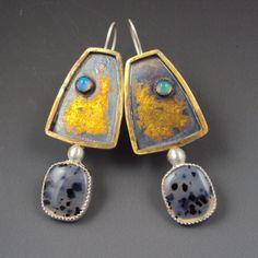 Dana Evans Studio Gold keum-boo earrings with Ethiopian opal and Montana agate...