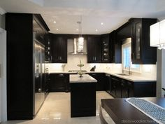 Transitional kitchen, with dark stained maple cabinetry. Transitional Kitchen, Transitional Style, Kitchen And Bath Design, Custom Cabinetry, Glass Doors, Kitchen Styling, All Design, Kitchens, Island