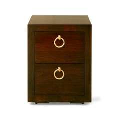 """Back to previous page  COD19S  Bedside Chest of Drawers, Small - Conker Gloss with Bright Brass Handles  H.580mm/22 3/4"""", W. 450mm/17 3/4"""", D.450mm/17 3/4"""""""