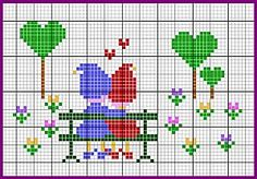Lovers on a bench cross stitch chart